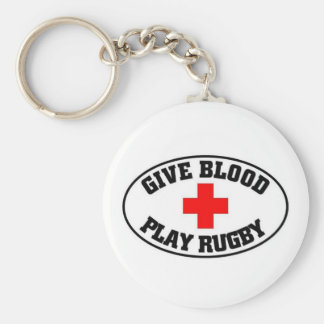 Give blood play Rugby Basic Round Button Keychain