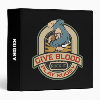 Give Blood Play Rugby Binder