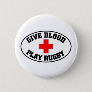 Give blood play Rugby Button