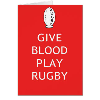 Give Blood Play Rugby Card