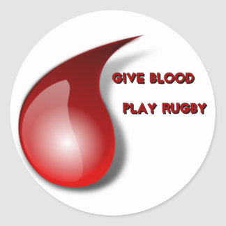 Give Blood, Play Rugby Classic Round Sticker
