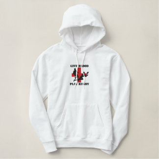 Give Blood Play Rugby Embroidered Hoodie