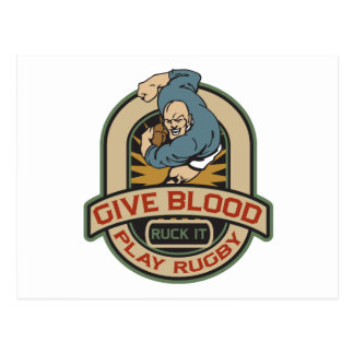 Give Blood Play Rugby Postcard