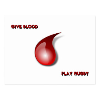 Give Blood, Play Rugby Postcard