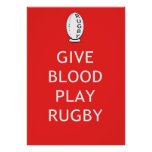 Give Blood Play Rugby Poster