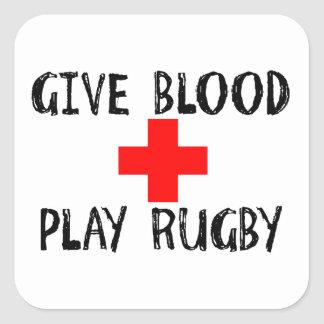 Give Blood, Play Rugby Square Sticker