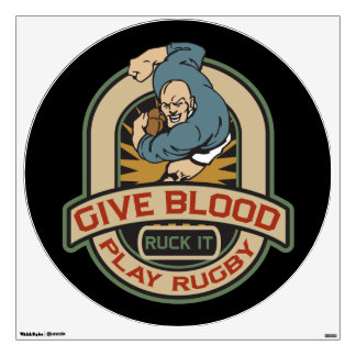 Give Blood Play Rugby Wall Sticker