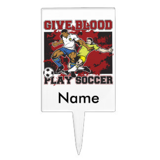 Give Blood Play Soccer Cake Topper