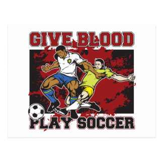 Give Blood Play Soccer Postcard