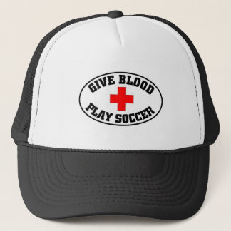 Give blood play Soccer Trucker Hat