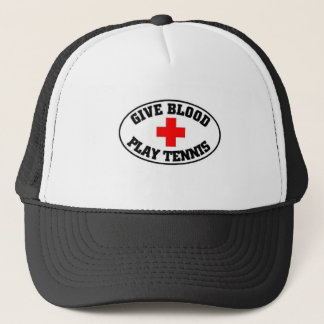 give blood play tennis trucker hat