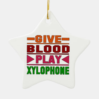 Give Blood Play Xylophone. Double-Sided Star Ceramic Christmas Ornament