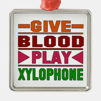 Give Blood Play Xylophone. Square Metal Christmas Ornament