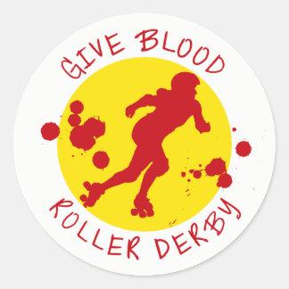 Give Blood Roller Derby Classic Round Sticker