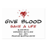 Give Blood Save A Life Blood Drive Chubby Template Large Business Card