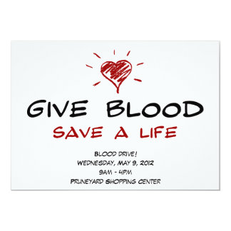 Give Blood Save A Life Blood Drive Template 5x7 Paper Invitation Card