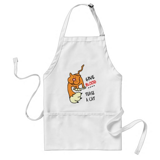 give blood tease a cat aprons