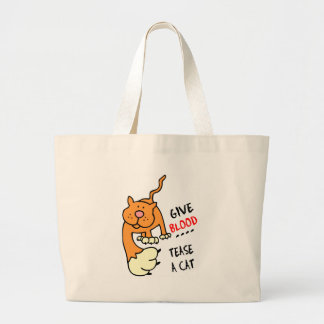 give blood tease a cat canvas bags