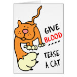 give blood tease a cat cards