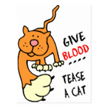 give blood tease a cat post card