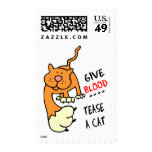 give blood tease a cat postage stamp