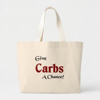 Give carbs a chance canvas bag