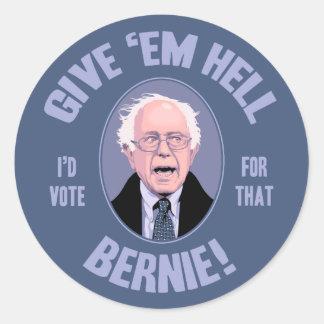 Give 'Em Hell, Bernie Classic Round Sticker