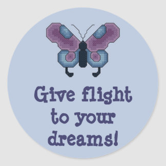 Give flight to your dreams! Butterfly Stitcker Classic Round Sticker