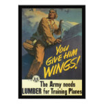 Give Him Wings World War 2 5x7 Paper Invitation Card