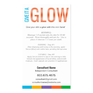 GIVE IT A GLOW - Mini Facial Instruction Card Business Card