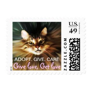 give love, get love, cat design postage stamp
