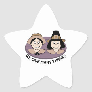 Give Many Thanks Star Stickers