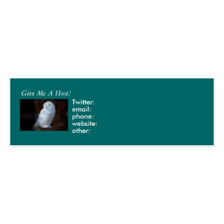 Give Me A Hoot! - profile card template Business Card