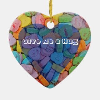 Give Me a Hug Double-Sided Heart Ceramic Christmas Ornament