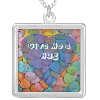 Give Me a Hug Square Pendant Necklace