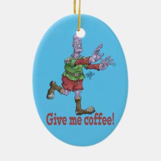 Give me coffee! Oval ceramic decoration. Ceramic Ornament