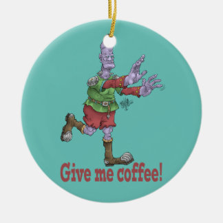 Give me coffee! Round ceramic decoration. Ceramic Ornament