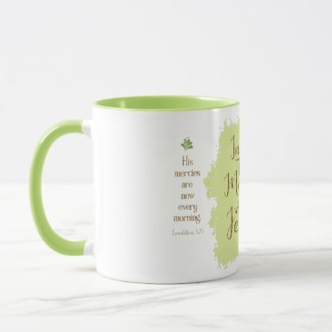 "Coffee Themed ""Give Me Jesus"" 11oz Combo Mug (Lime)"