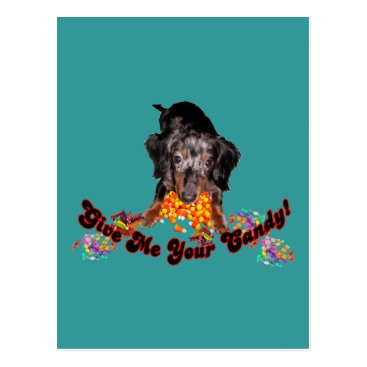 Halloween Themed Give Me Your Candy Dachshund and Candy Postcard