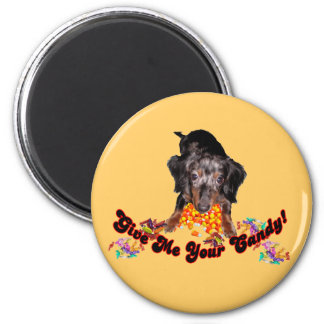 Give Me Your Candy Dachshund with Candy 2 Inch Round Magnet