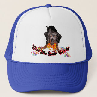 Give Me Your Candy Dachshund with Candy Trucker Hat