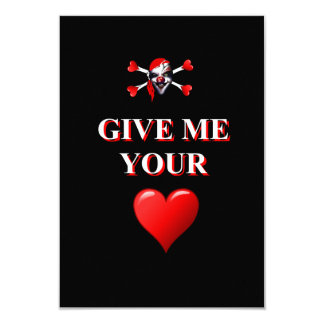 Give me your heart pirate clown card