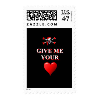 Give me your heart pirate clown postage stamp