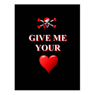 Give me your heart pirate clown postcard