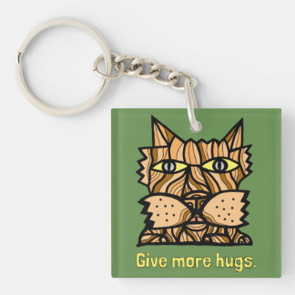 """Give More Hugs"" Square (double-sided) Keychain"