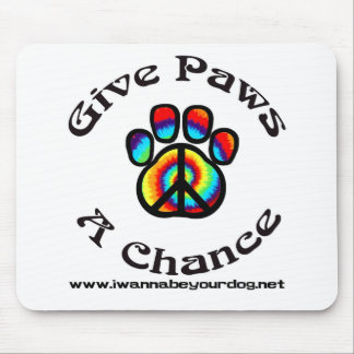 Give Paws a Chance Peace Symbol Mouse Pad