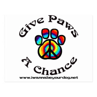 Give Paws a Chance Peace Symbol Postcard