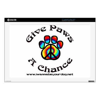 """Give Paws a Chance Peace Symbol 17"""" Laptop Skin"""