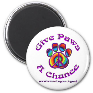 Give Paws A Chance purple peace 2 Inch Round Magnet