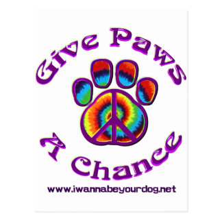 Give Paws A Chance purple peace Postcard